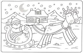 раскраска Дед Мороз на сказочных оленях