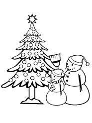 раскраска елочка и снеговики