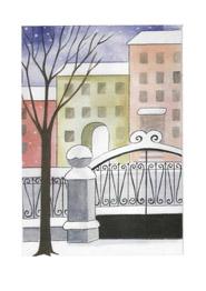раскраска зима в городе
