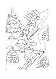 раскраска на лыжах