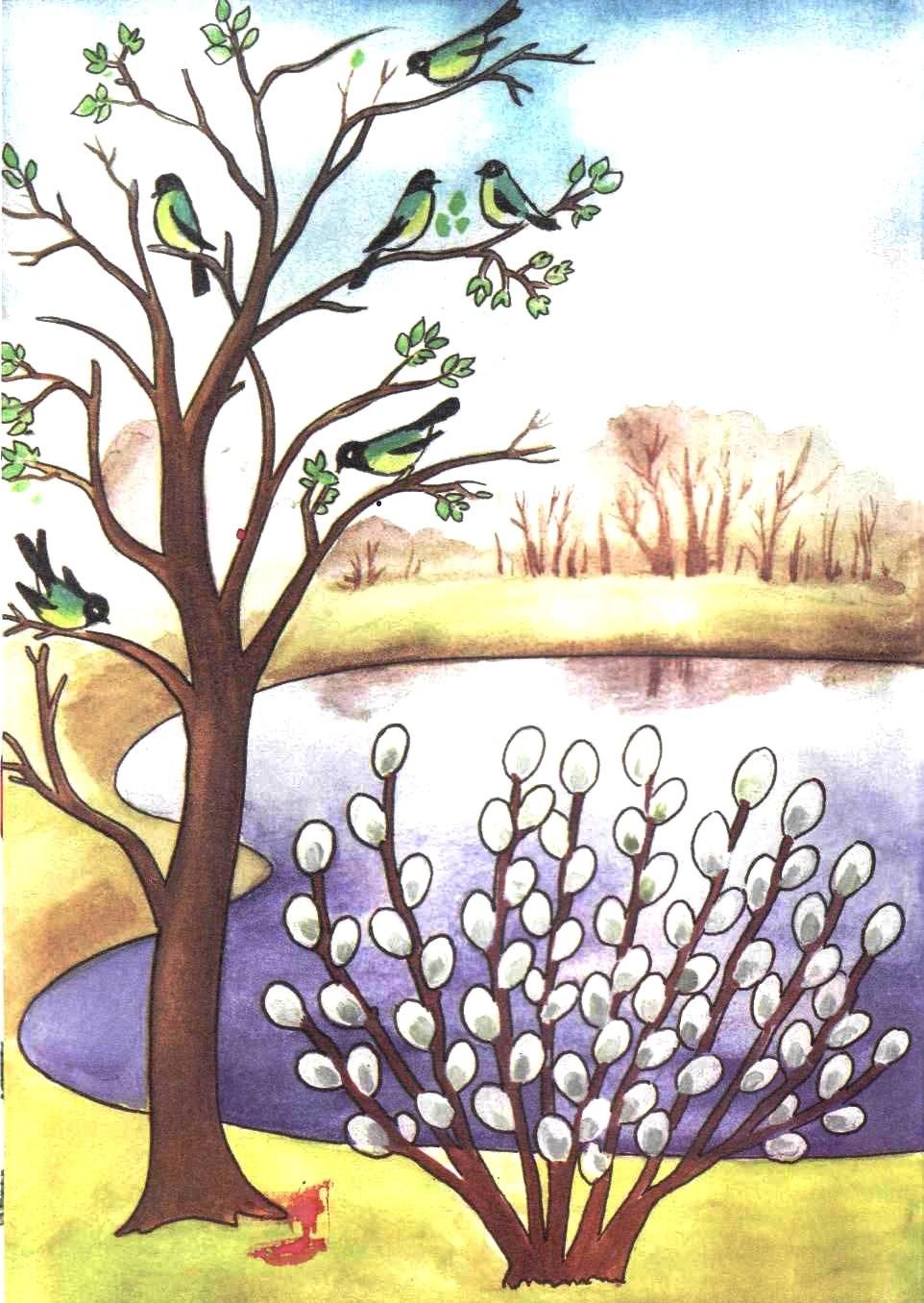 Раскраски весны для детей