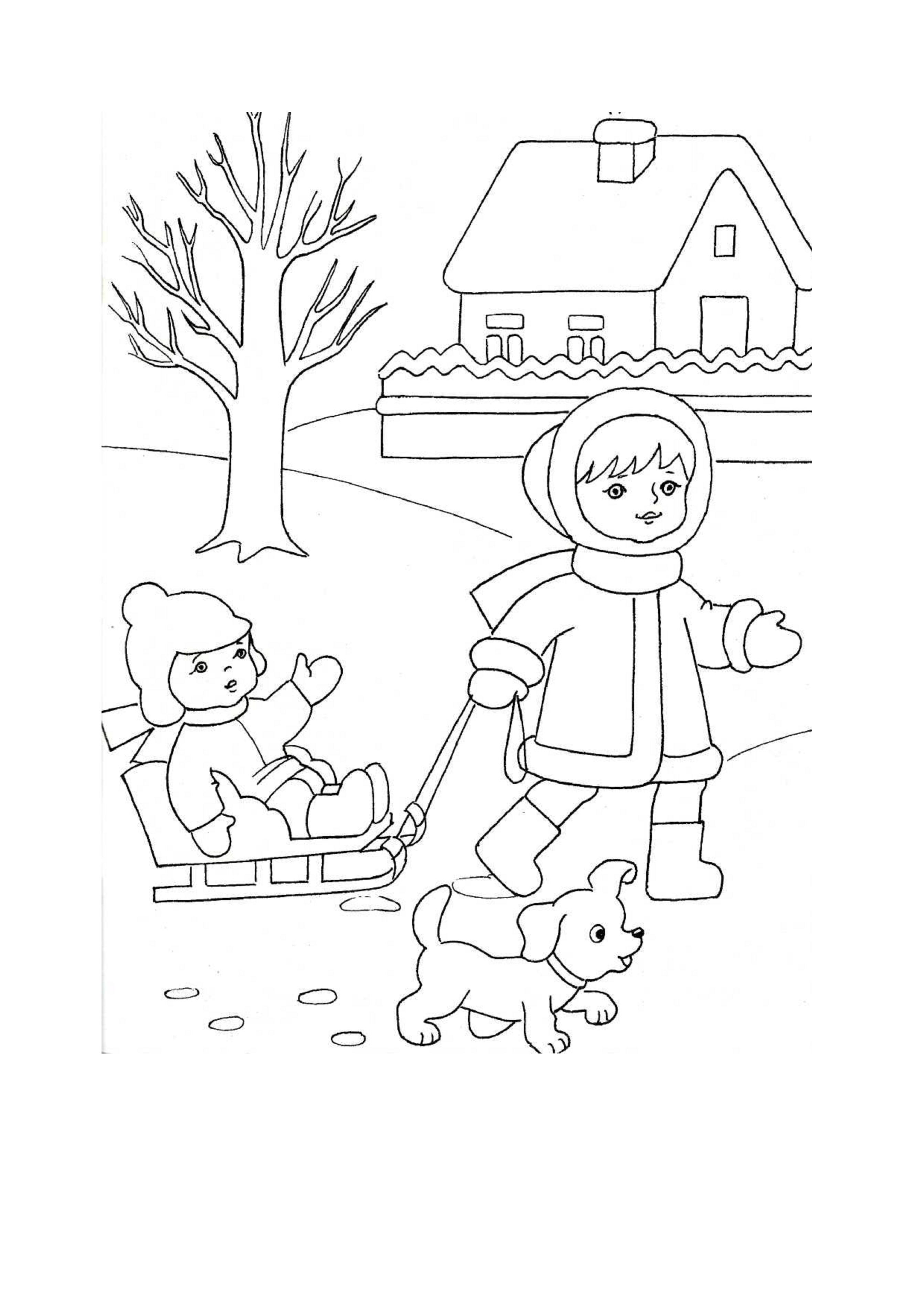 Зима рисунки детей карандашом 4