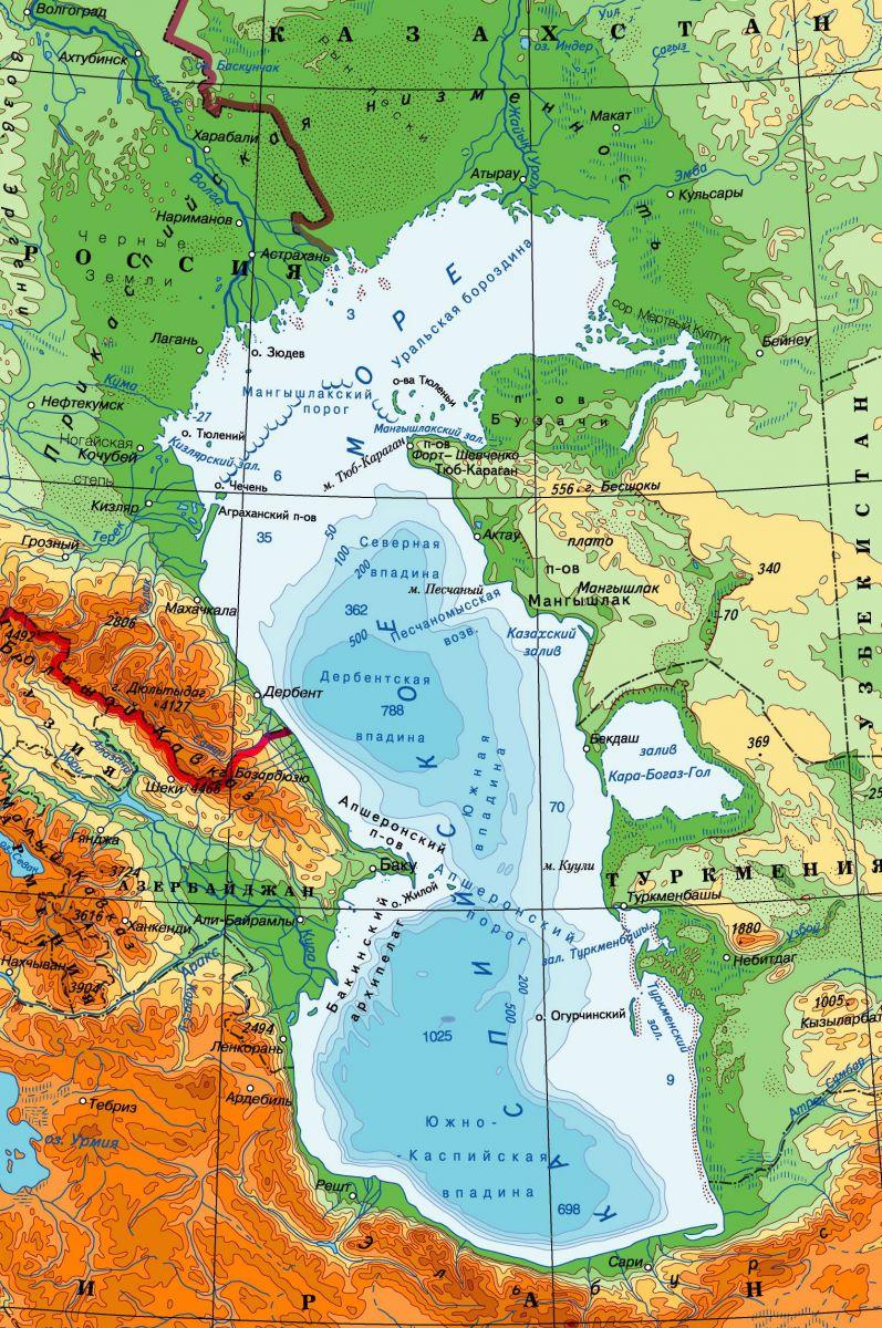 Каспийское озеро где находится на карте