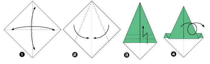Схема оригами: Ёлка из листка