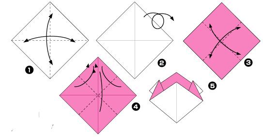 Схема оригами: Гвоздика из