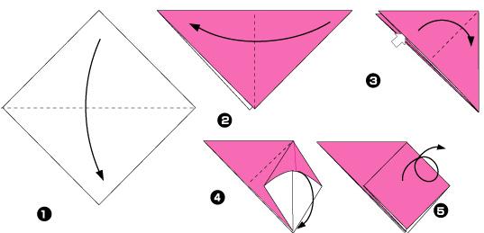 Схема оригами: Клубника из
