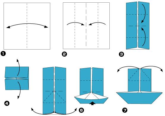 Схема оригами: Кораблик из