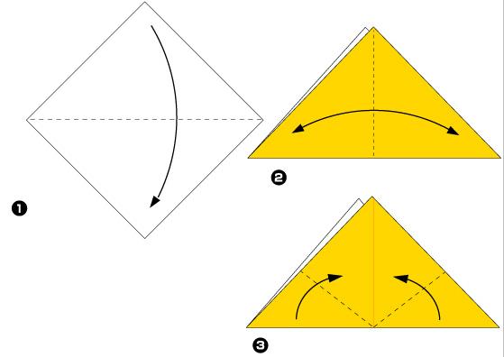 Схема оригами: Кошка из листка