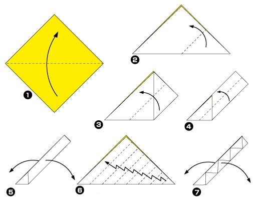 Схема оригами: Листья из
