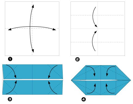 Схема оригами: Лодочка из