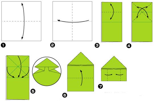 Схема оригами: Лягушка из