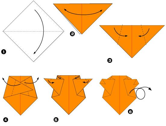 Схема оригами: Медведь из