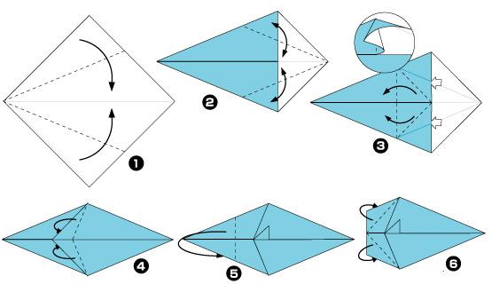 Схема оригами: Мышка из листка