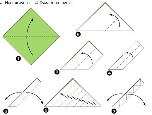 Схема оригами: Подсолнух из