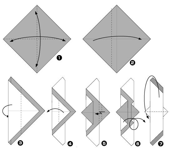 Схема оригами: Птичка (чайка)