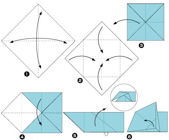 Схема оригами: Щенок из листка