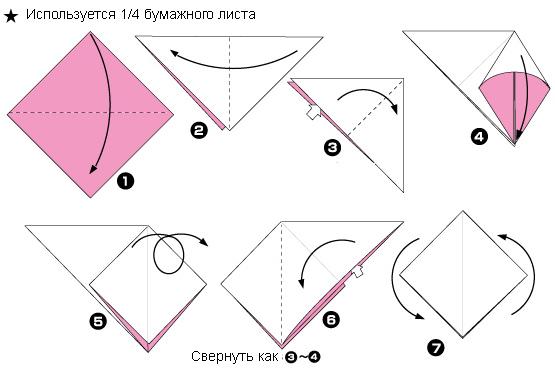 Схема оригами: Слива из листка