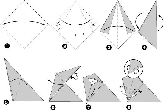 Схема оригами: Слон из листка