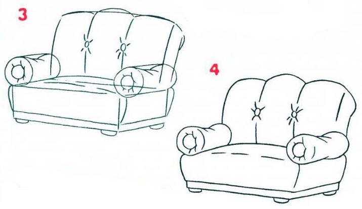 нарисуйте обивку дивана.