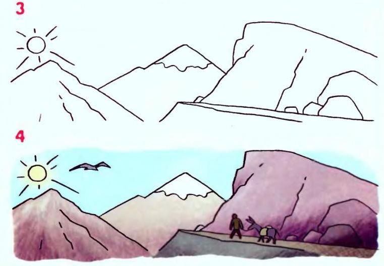 Схема рисунка горный пейзаж на
