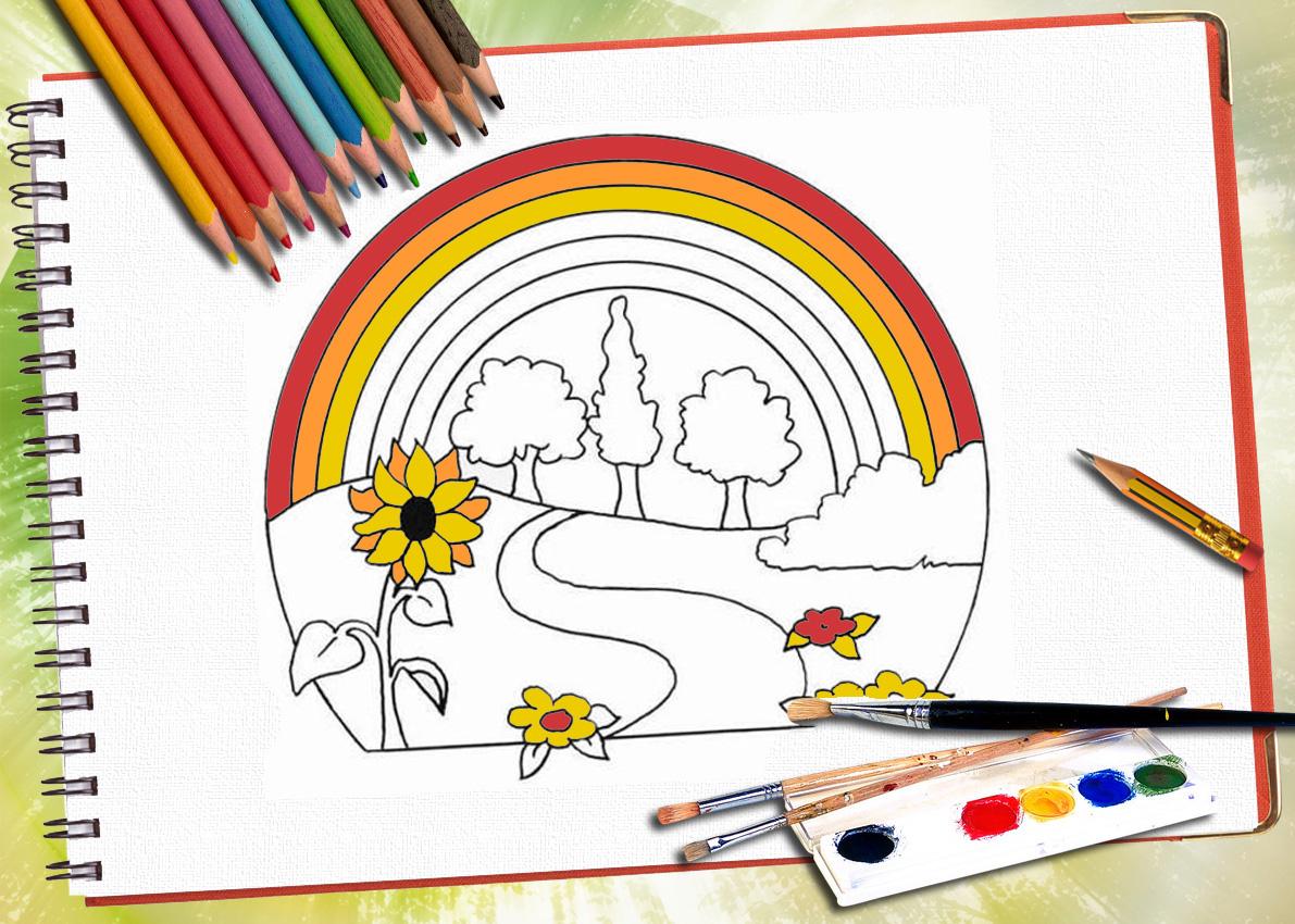 Теперь раскрасим радугу во все цвета