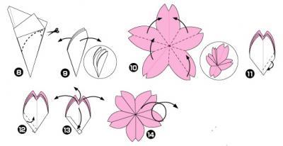 Оригами вишня