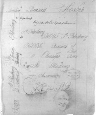 """Рисунки и рукописный текст Ф.М. Достоевского. """"Идиот"""", 1867 г."""