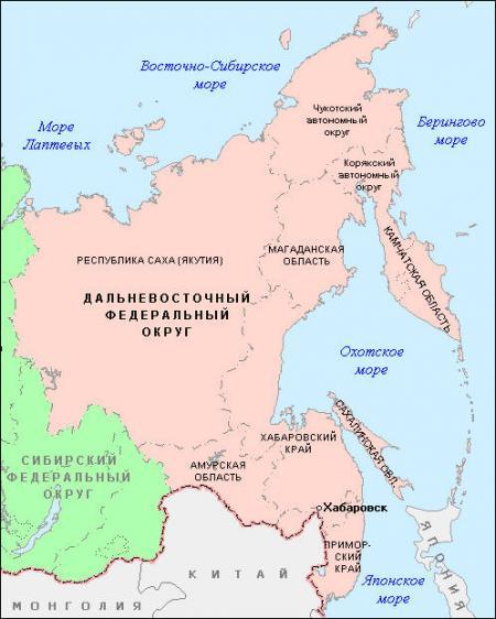карта Дальнего Востока России