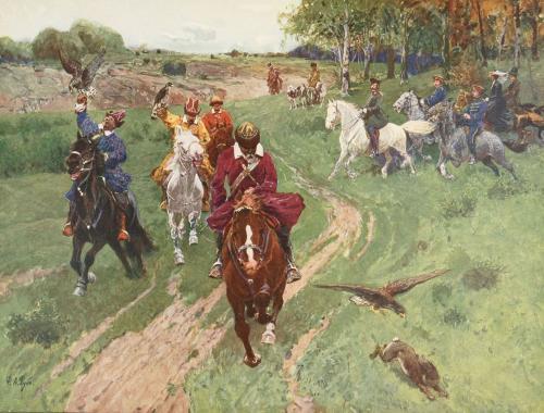 Ф Рубо Охота башкир с соколами в присутствии императора Александра II