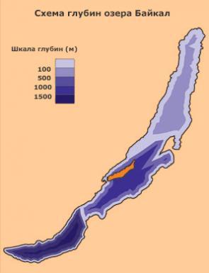 схема глубин озера Байкал