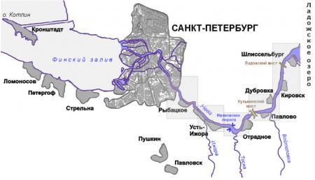 река Нева карта