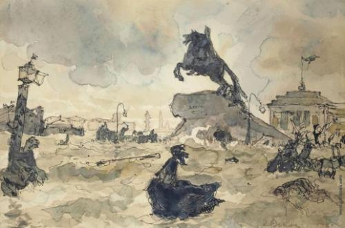 Бенуа Александр Николаевич, иллюстрация к Медному всаднику, 1928