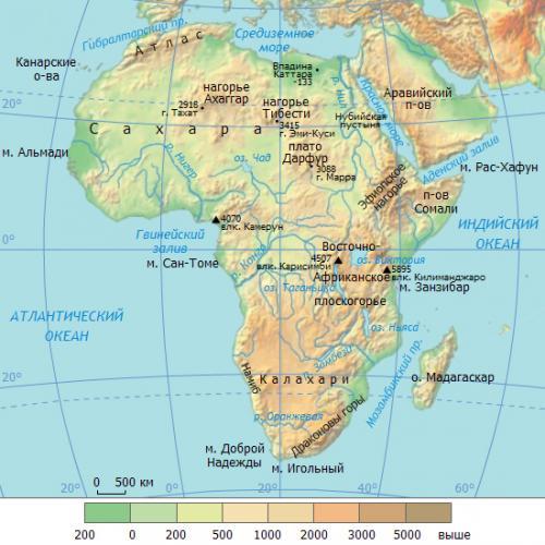 воды Африки на карте